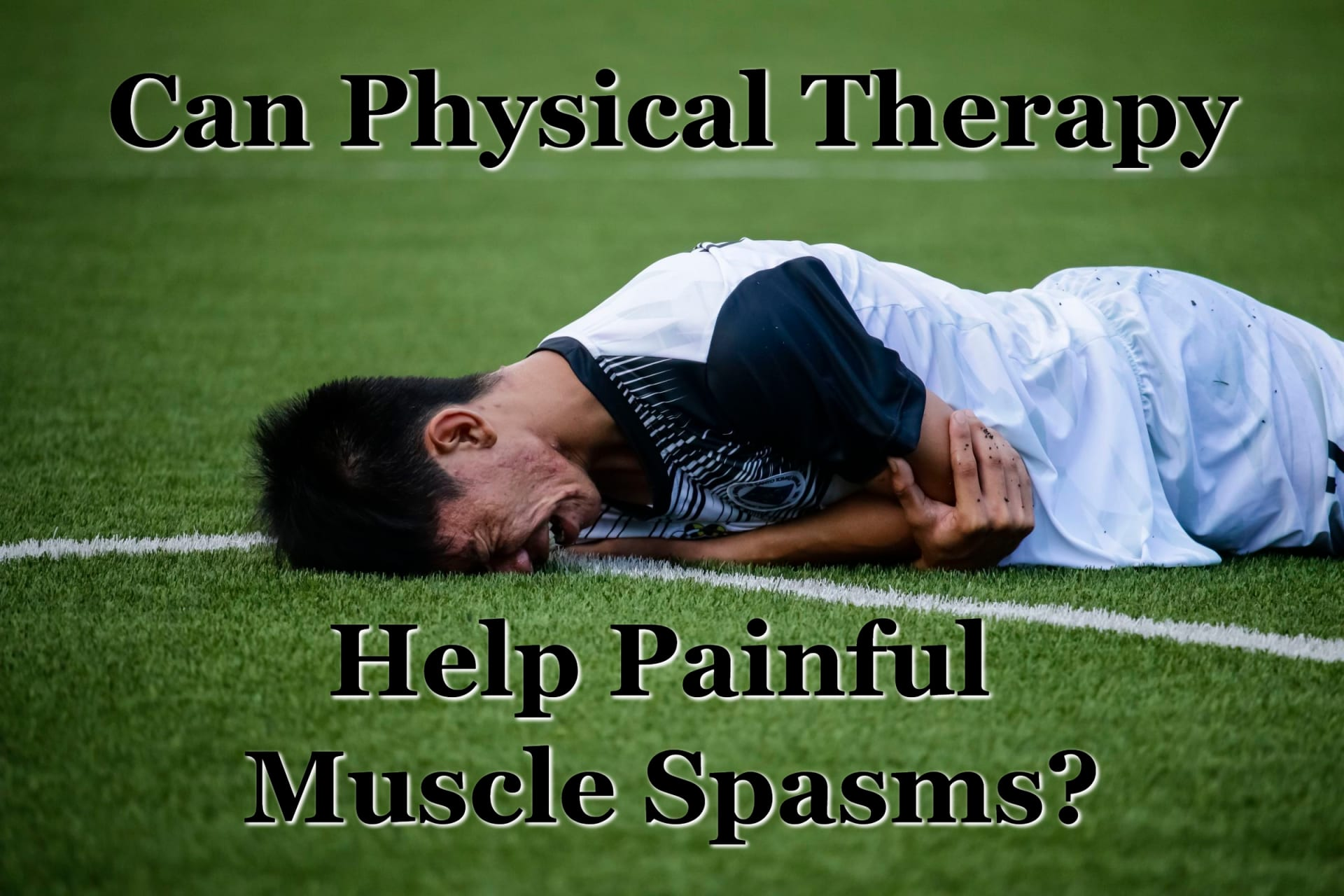 A soccer player suffering painful muscle spasms