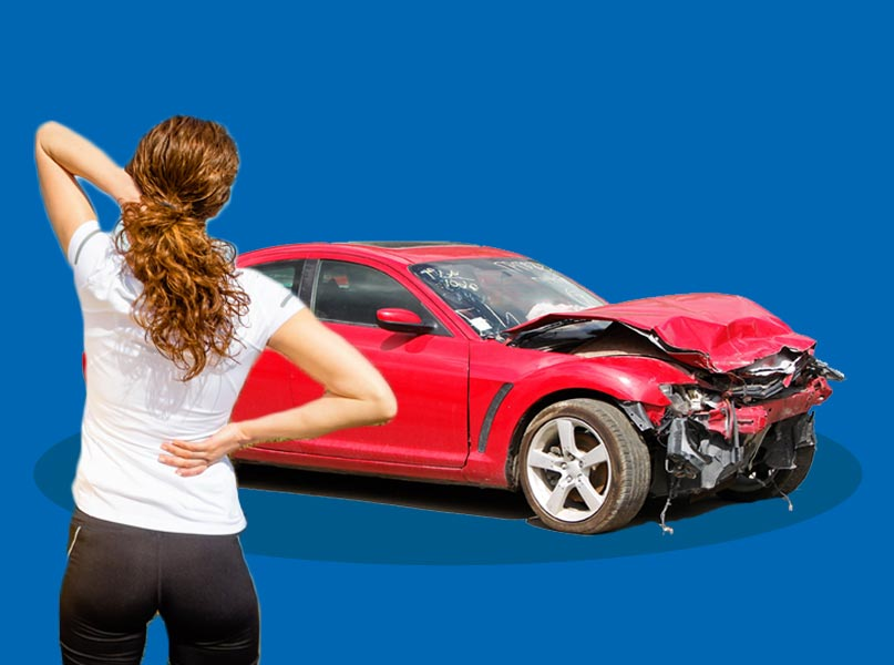 Images of Wrecked Red Car Involved in a Front Collision and Woman Standing By Suffering from Neck Pain and Back Pain Due to the Accident - Freedom Health Centers